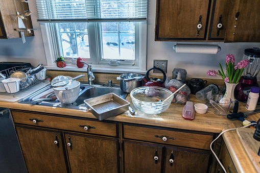 Messy Kitchen Unwashed Dishes Pots and Pans