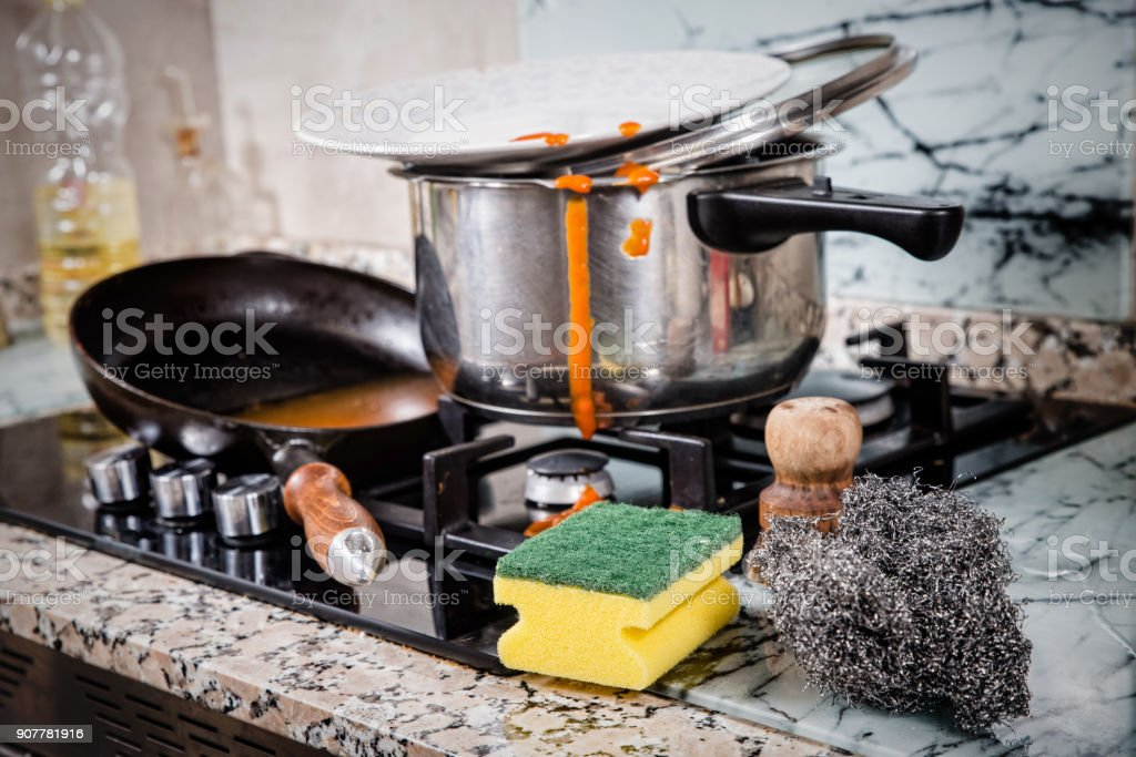 Messy kitchen work top stock photo