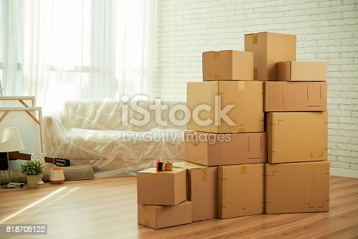 istock Messy Living Room of New Apartment 818705122