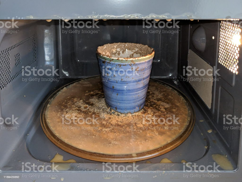 Messy Microwave Oven Boiled Over Drink From Over Heating