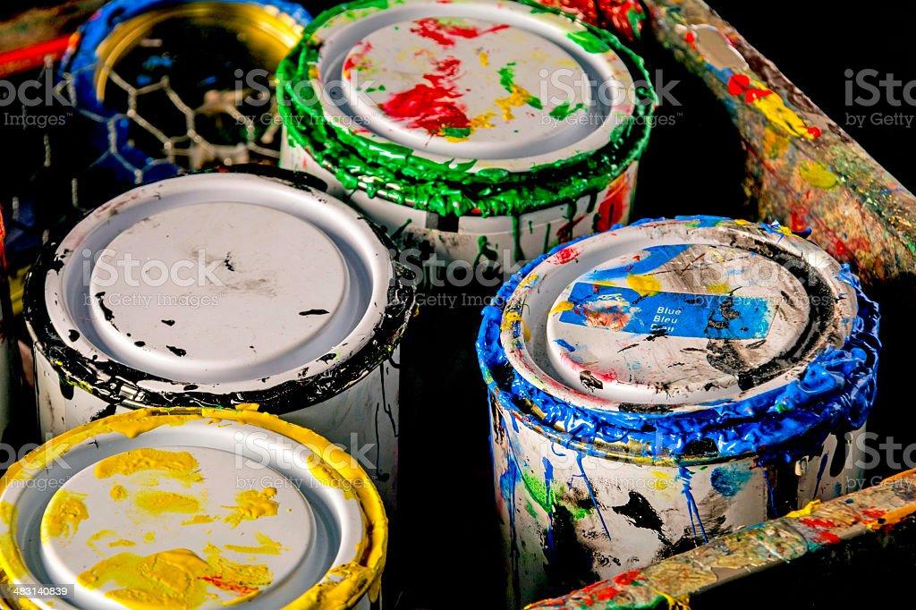 Messy Paint Pots stock photo