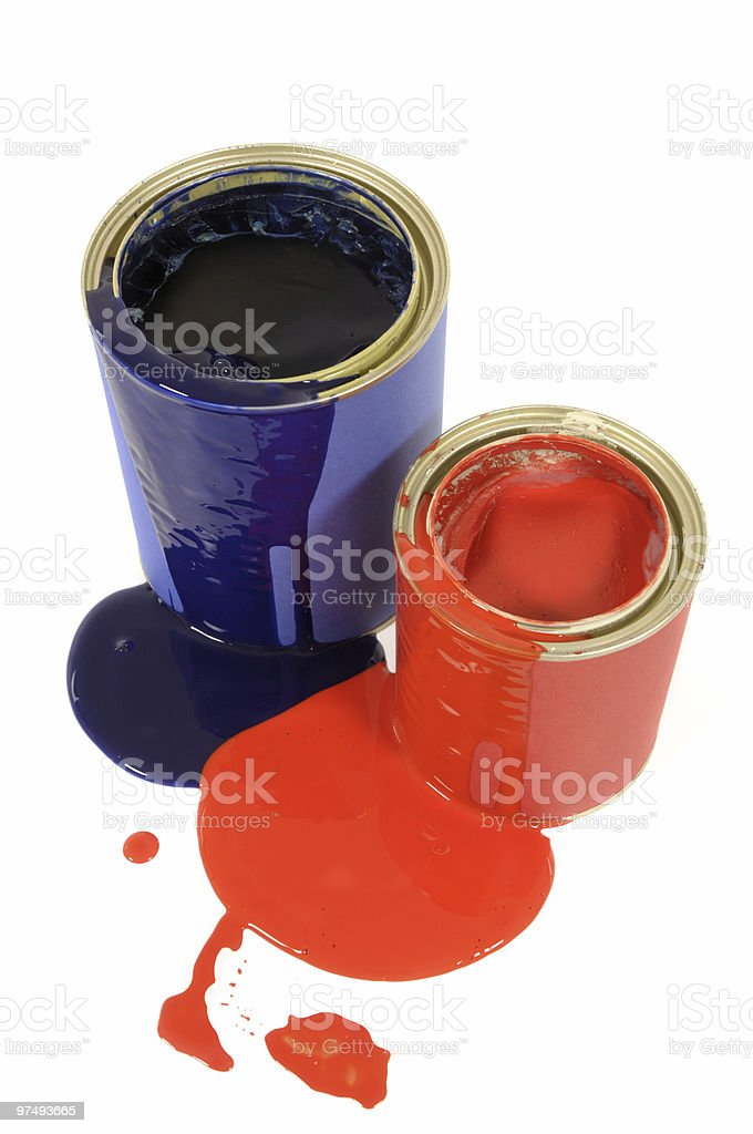 Messy paint tins royalty-free stock photo