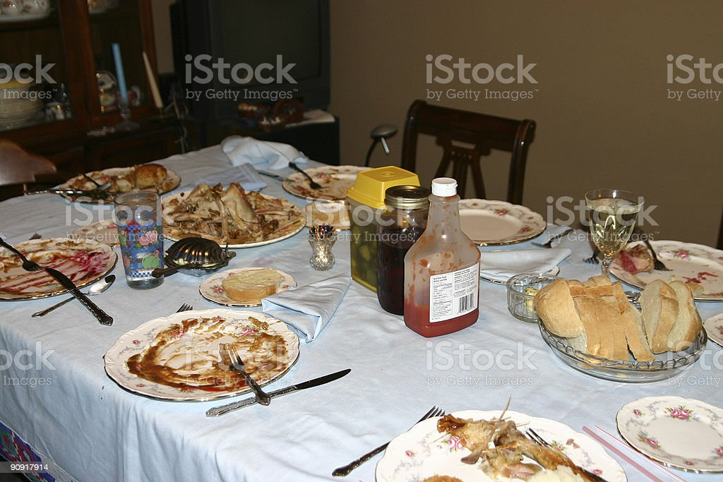 messy post dinner table royalty-free stock photo