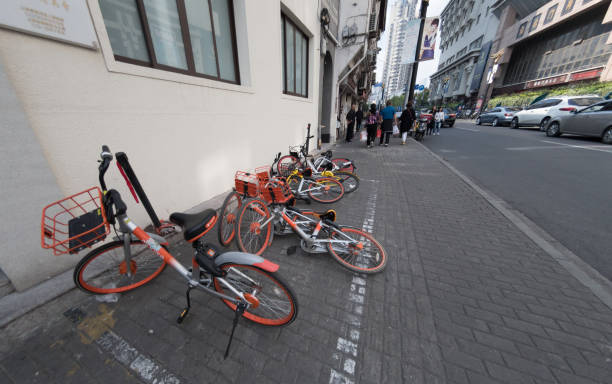 Messy row of bikes in Shanghai stock photo
