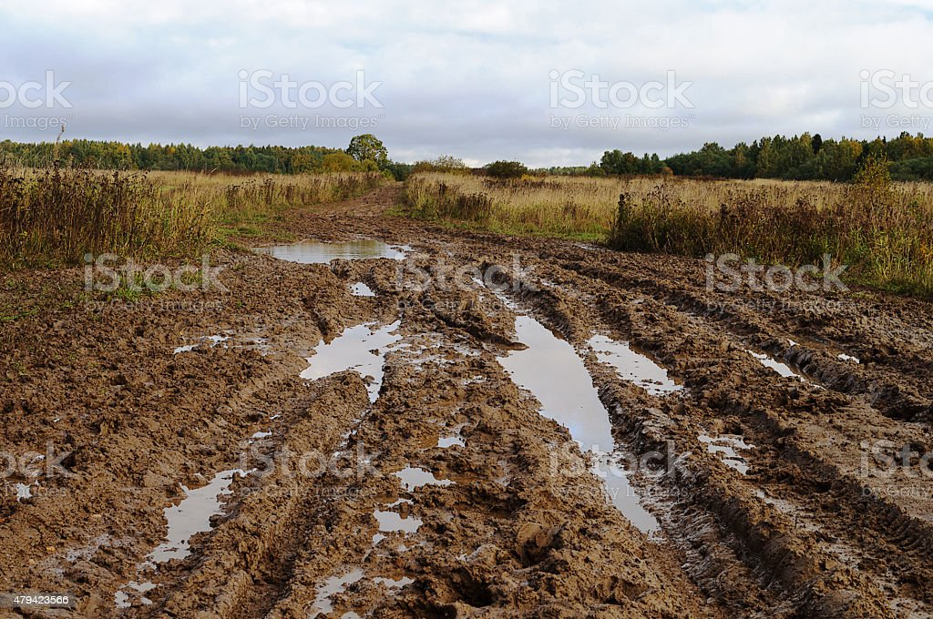 Messy rural dirt road after the rain stock photo