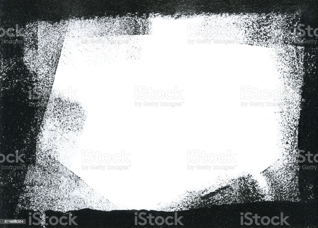 Messy spotted black frame on white background stock photo