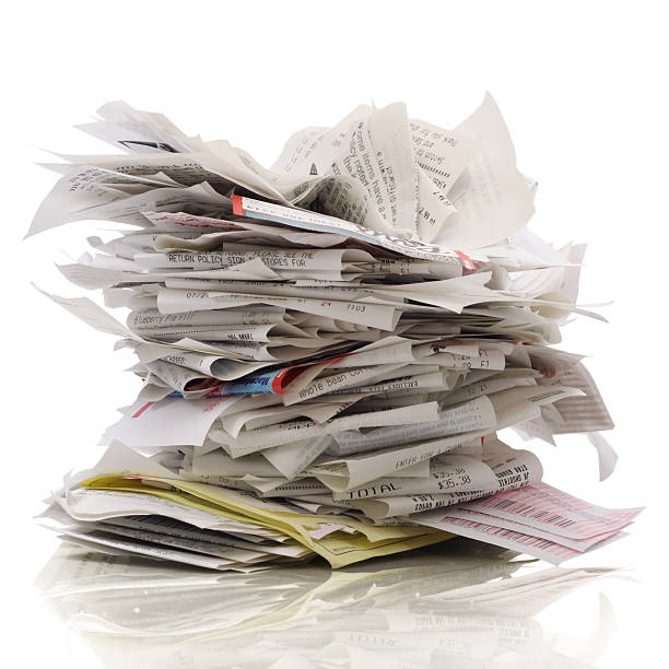 messy stack of bills and receipts - receipt stock photos and pictures