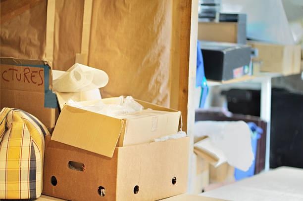 Messy storage area stock photo