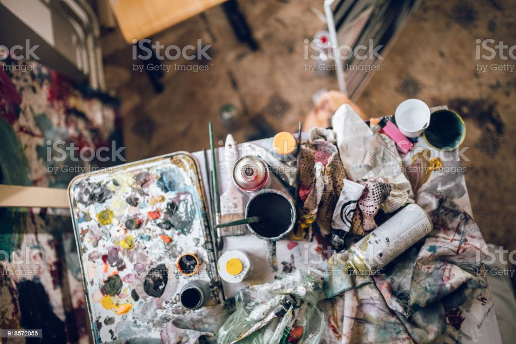 Messy table stock photo
