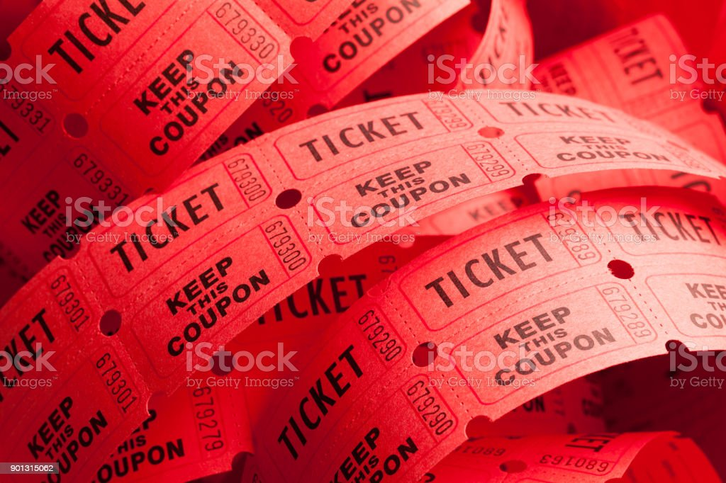 Messy Ticket Roll stock photo