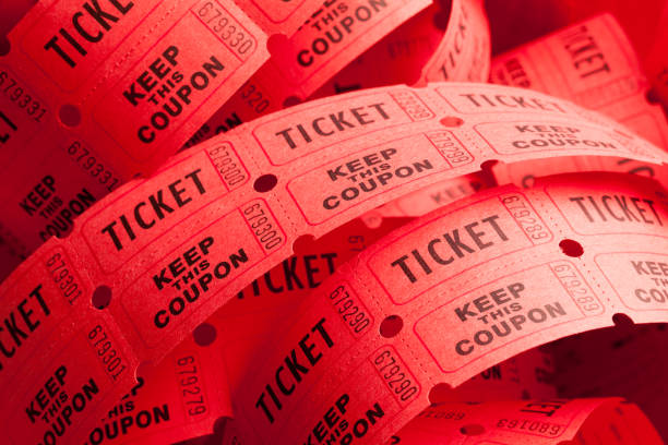 messy ticket roll - ticket stock photos and pictures