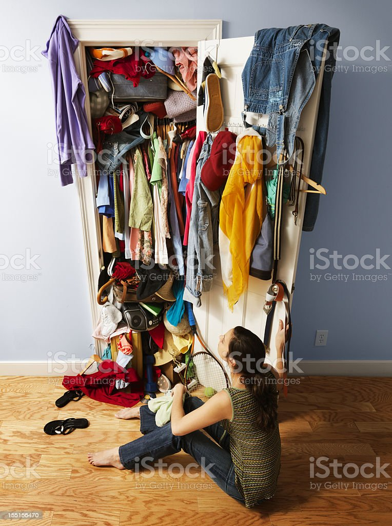 Messy Unorganized Closet stock photo