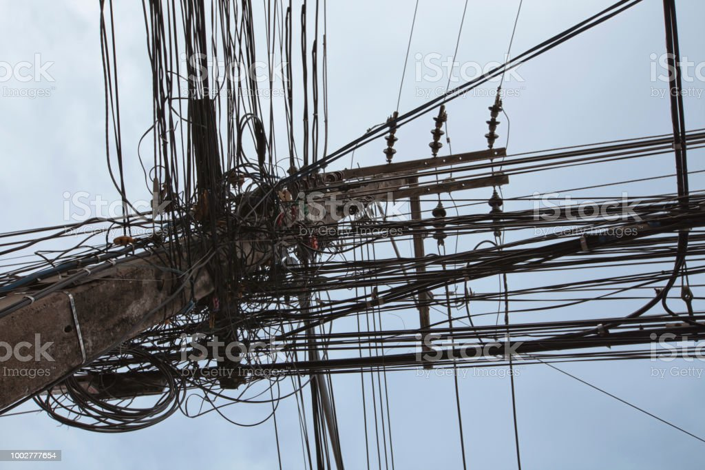 Messy Wires Attached To The Electric Pole The Chaos Of Cables And Wires On An Electric Pole In Bangkok Thailand Concept Of Electricity Stock Photo Download Image Now Istock