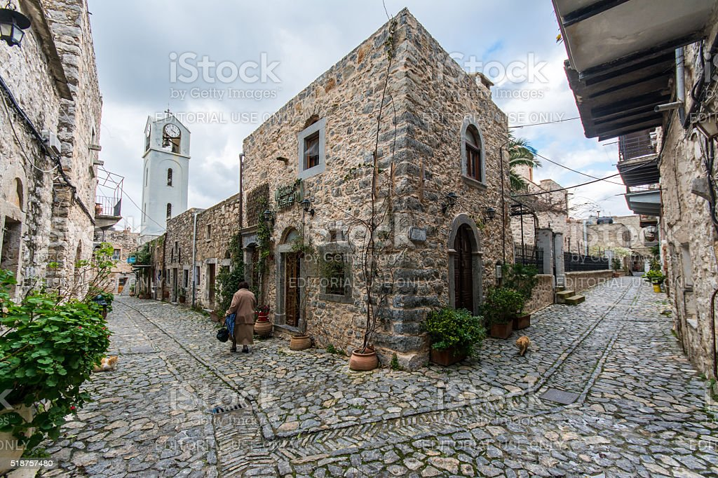 Mesta Village of Chios Island, Greece stock photo
