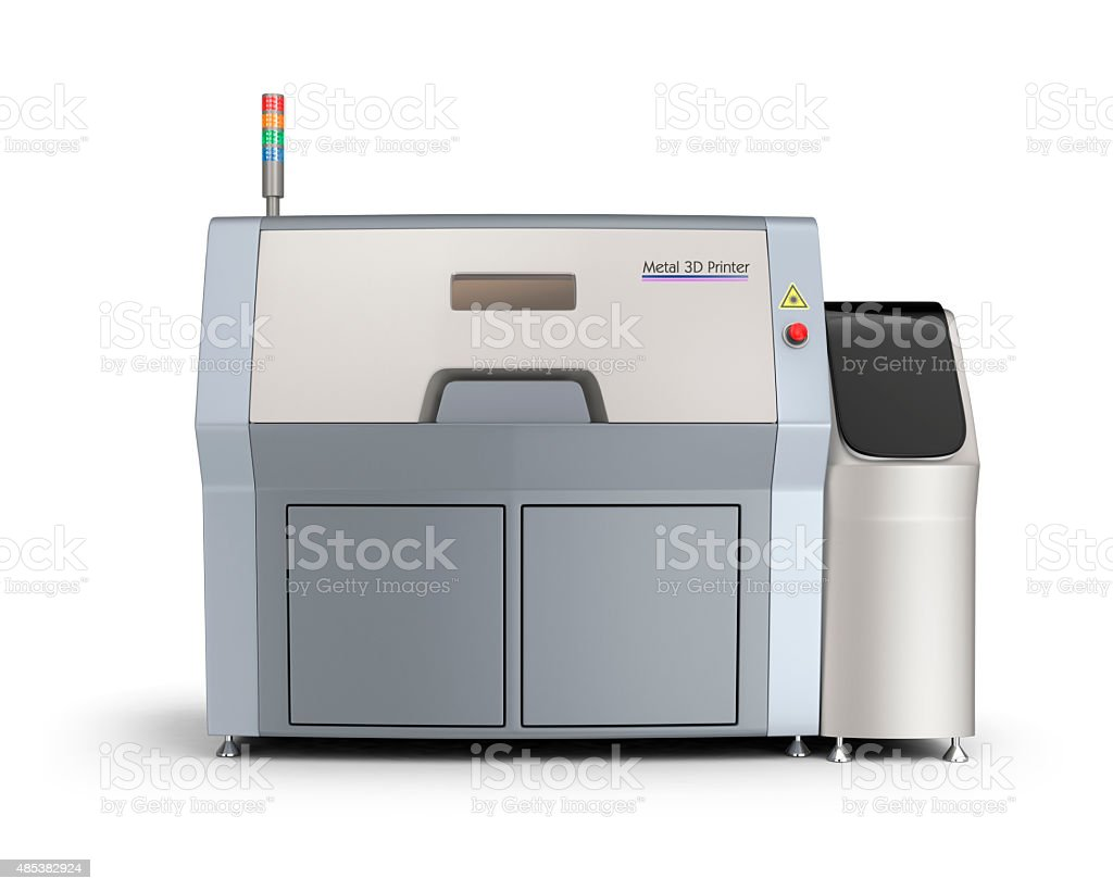 Metal 3D printer isolated on white background. stock photo