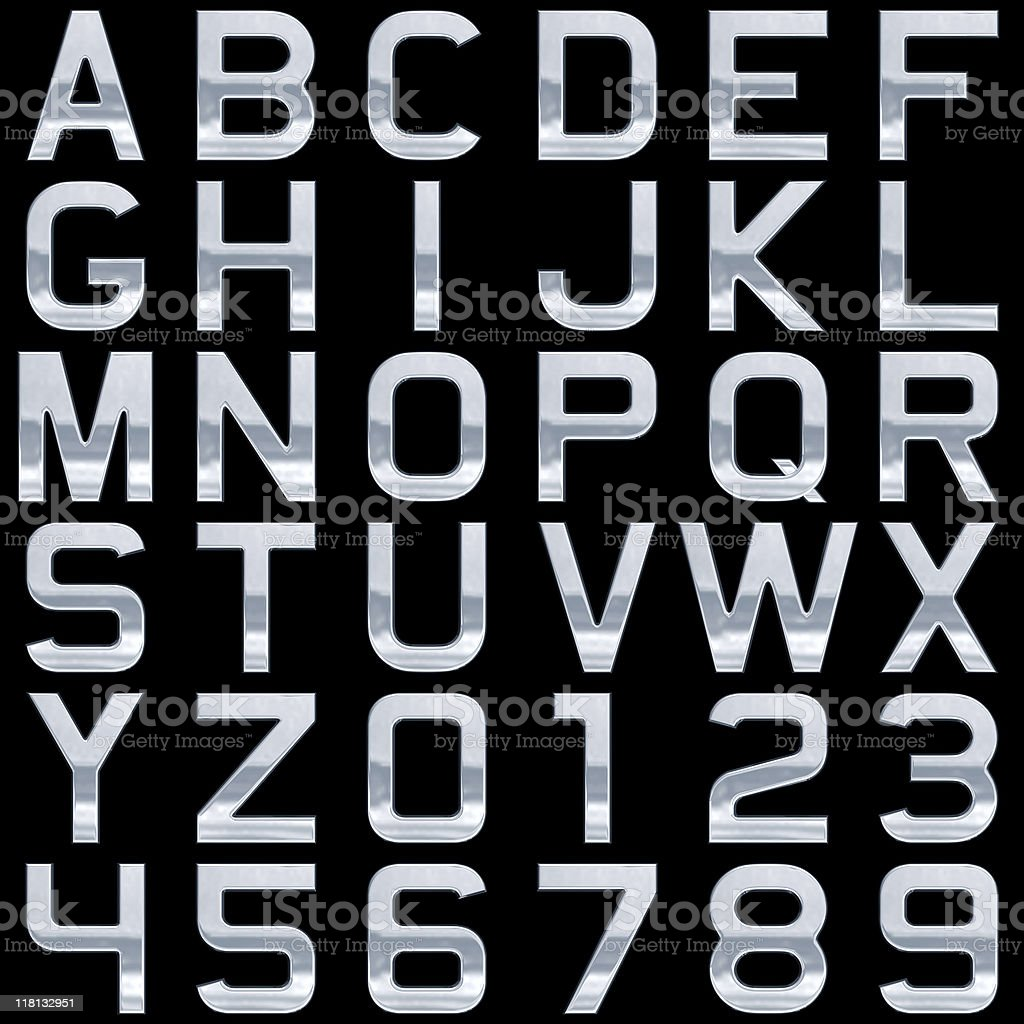 Metal alphabet (Extra Large Size!). Isolated on black royalty-free stock photo