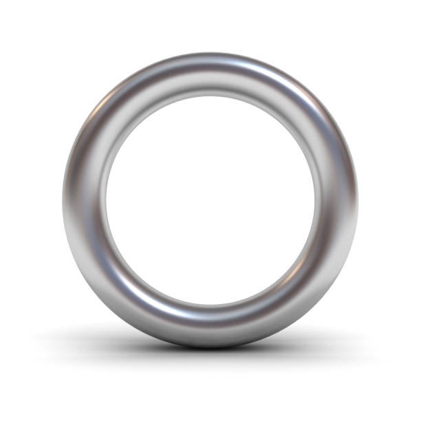 Metal alphabet letter O or silver ring isolated on white background stock photo