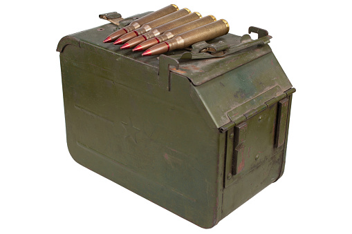 Metal Ammo Can for ammunition belt and 12.7×108mm cartridges for a 12.7 mm heavy machine gun DShK used by the former Soviet Union isolated on white background