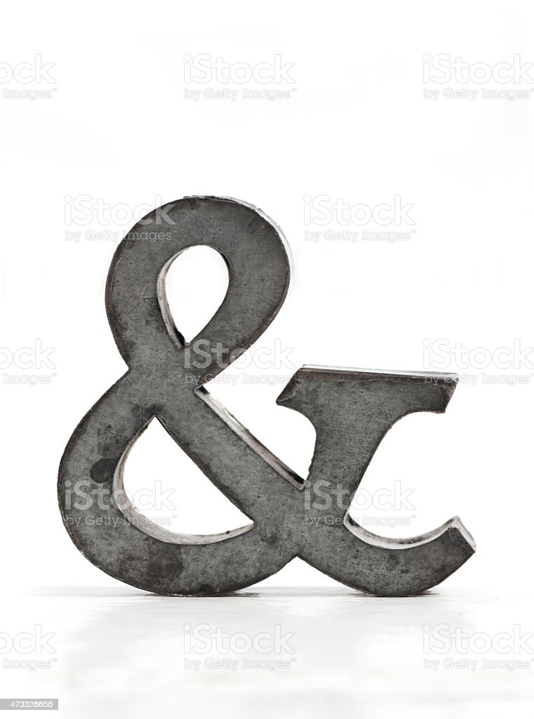 Metal ampersand stock photo