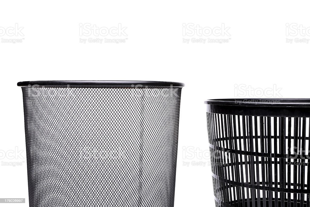 Metal and plastic trash cans on white background royalty-free stock photo