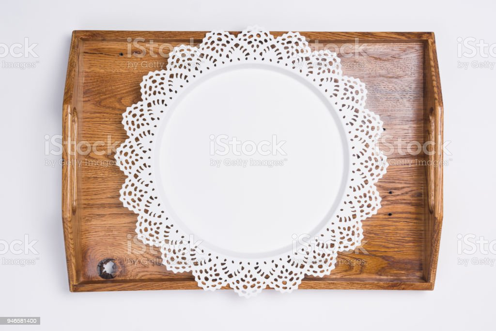 Metal and Wooden Serving Trays Flat Lay Top View stock photo