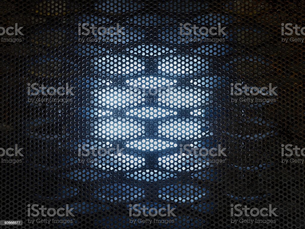 Metal Background with Blue Glow stock photo