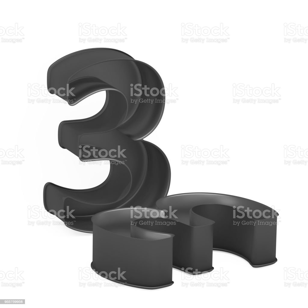 Metal baking anodized nonstick or PTFE cake pan set like mathematical digit 3 on white background stock photo
