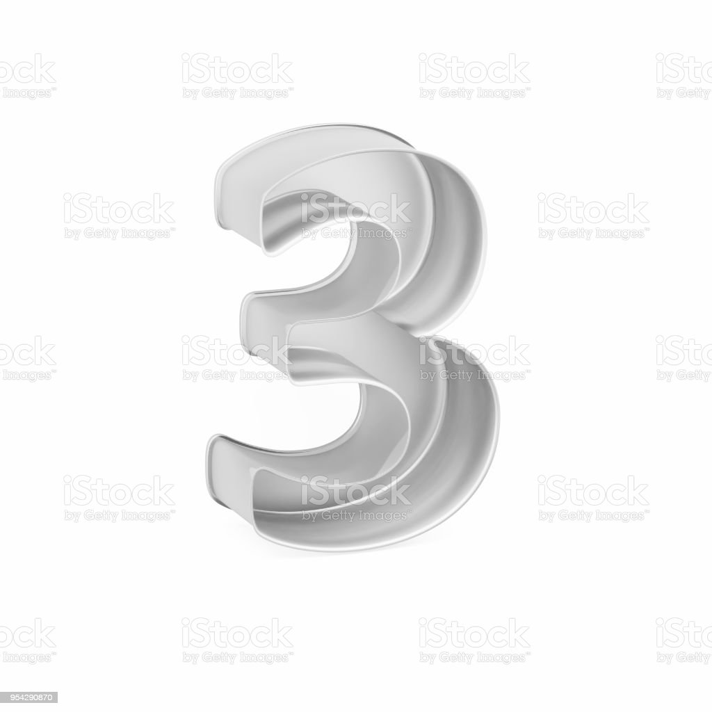 Metal baking cake pan or cookie cutter like mathematical digit 3 on white background, 3D rendered stock photo
