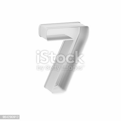 istock Metal baking cake pan or cookie cutter like mathematical digit 7 on white background, 3D rendered 954290912