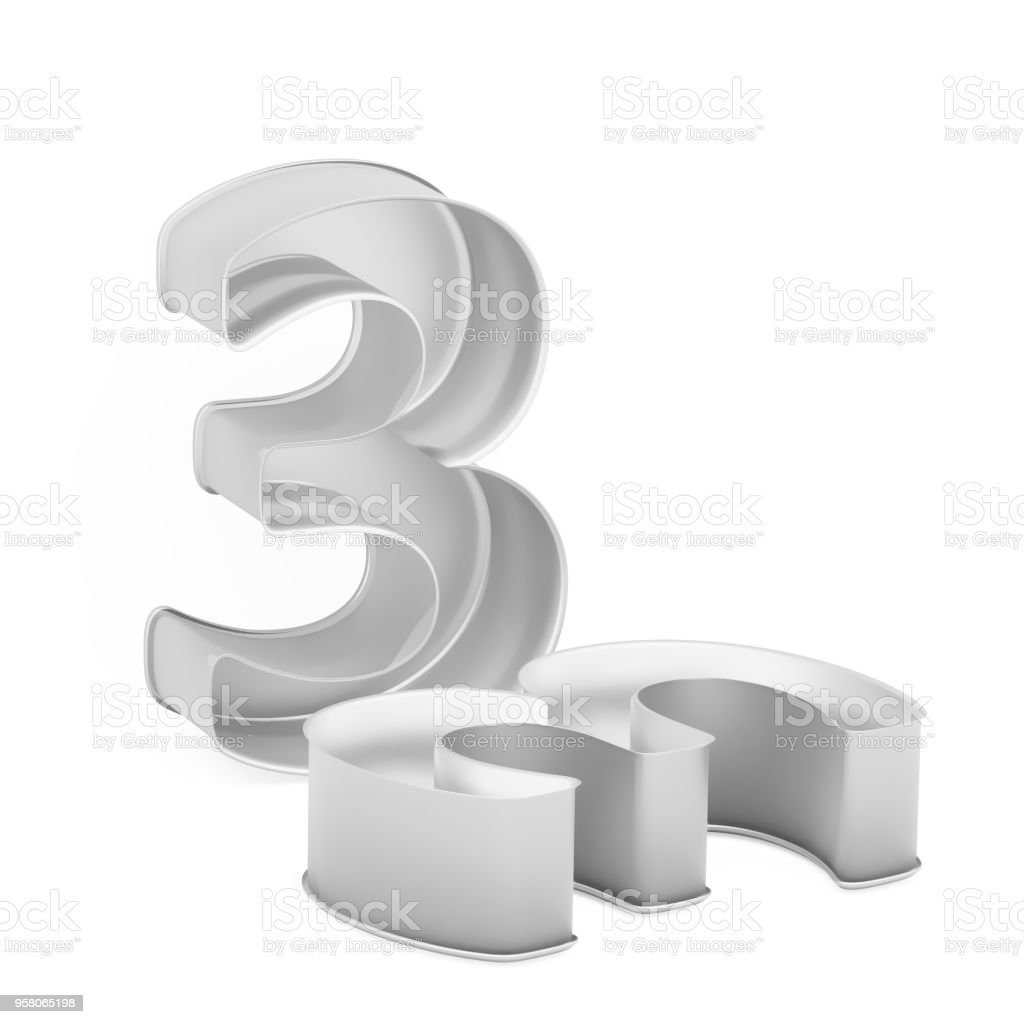 Metal baking cake pan or cookie cutter set like mathematical digit 3 on white background stock photo