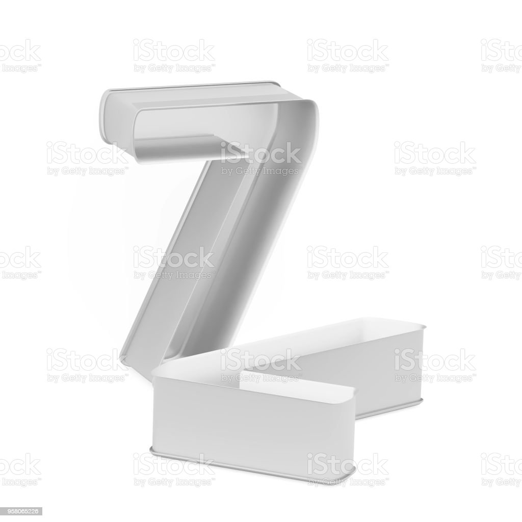 Metal baking cake pan or cookie cutter set like mathematical digit 7 on white background stock photo