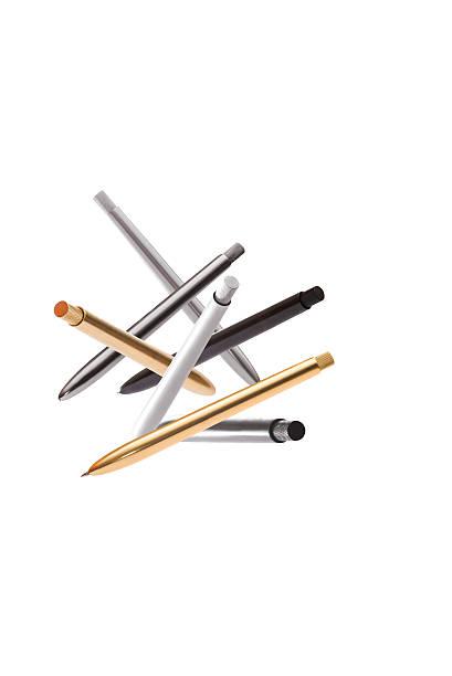 metal ballpoint pens stock photo