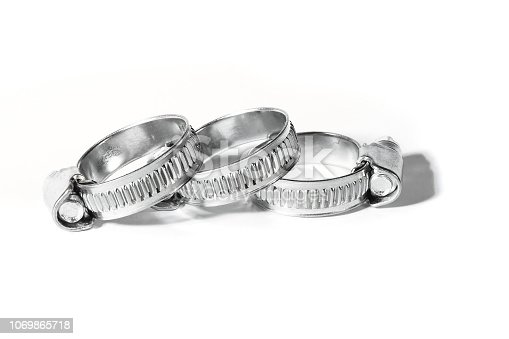 Metal band hose clamp isolated on white background close up