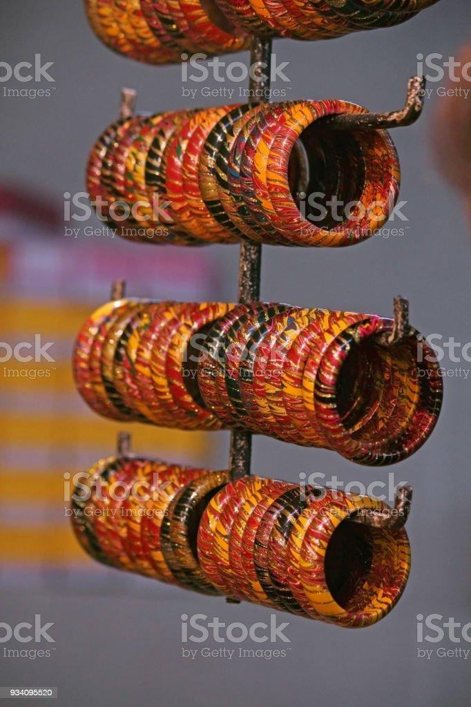 Metal Bangles at Market, India stock photo