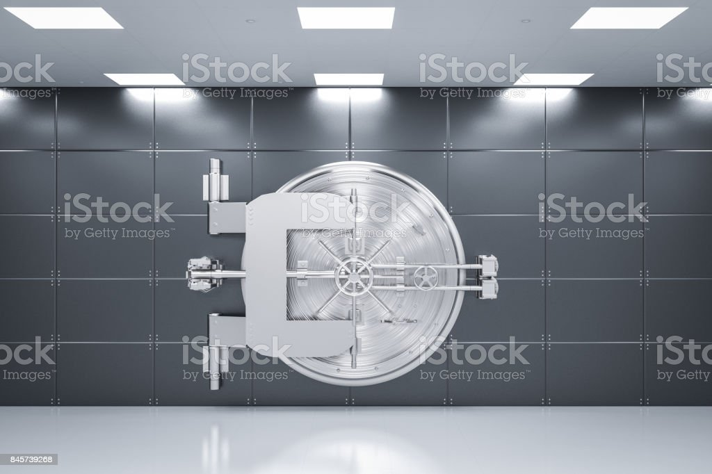 metal bank vault stock photo