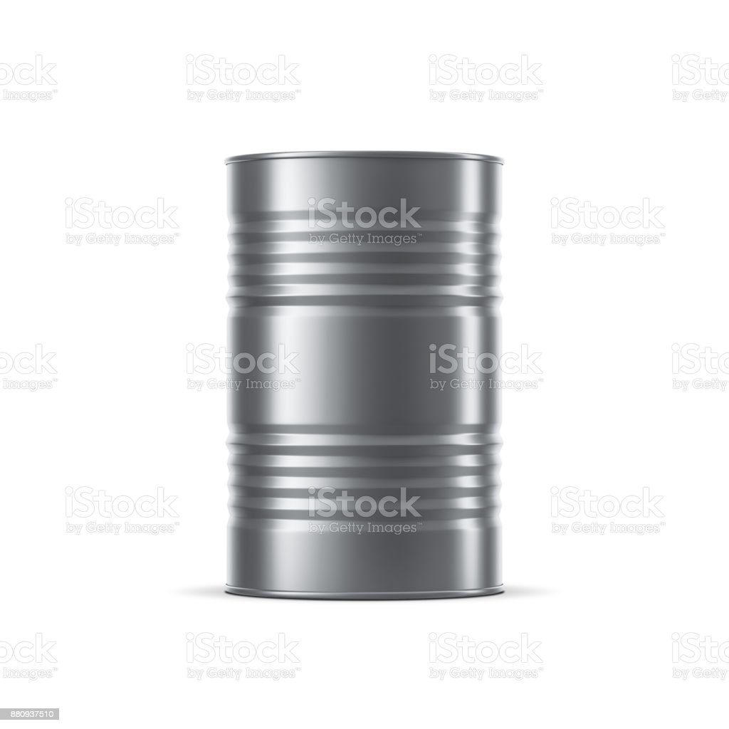 Metal barrel Mockup, stainless steel tin can for oil and petroleum stock photo
