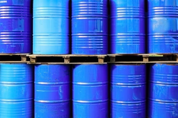 metal barrels stock photo