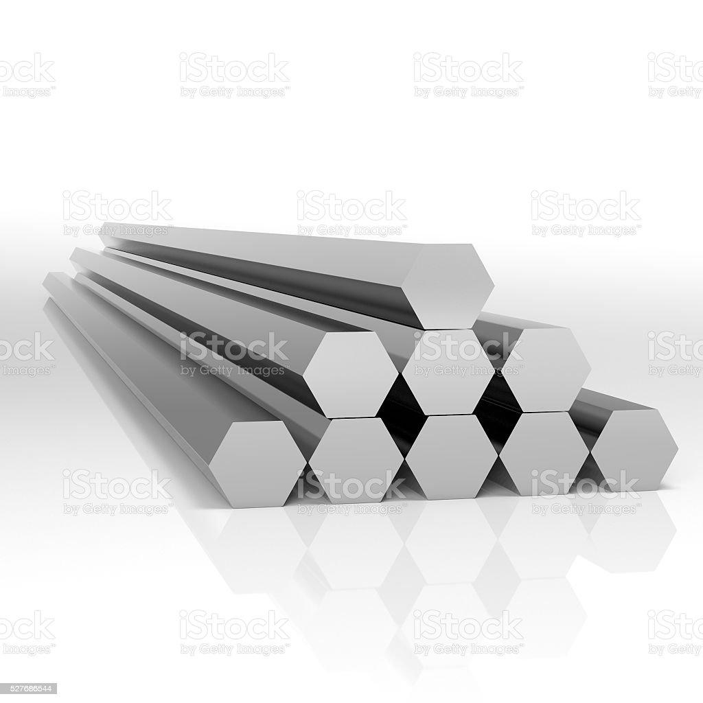 Metal bars hexahedron stock photo