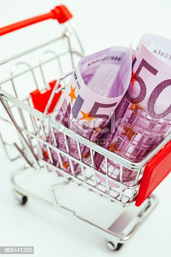 Metal Basket With An Euro 500 Banknote In It Consumption Shopping Concept Pushcart Stock Photo & More Pictures of Bank