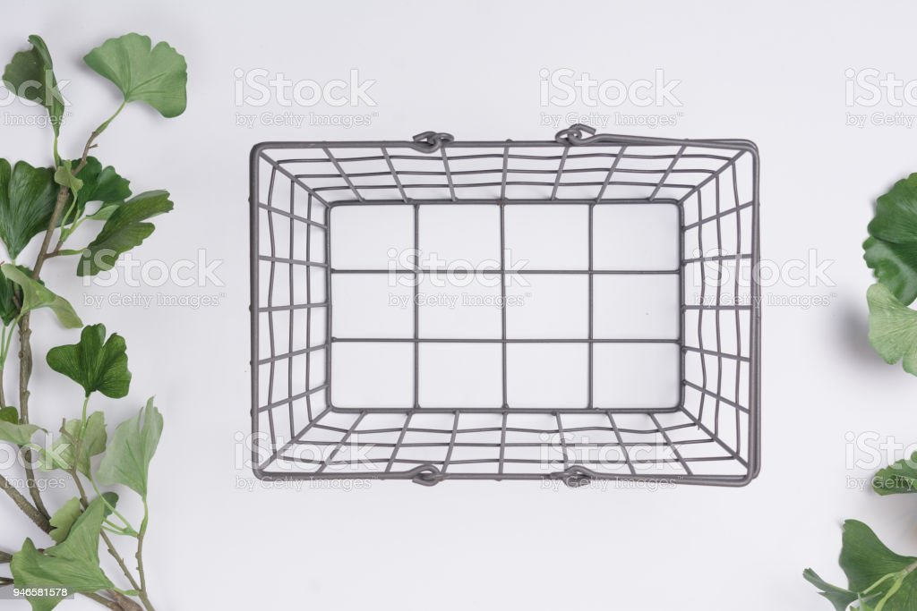 Metal Basket with less Branches Flat Lay Top View stock photo