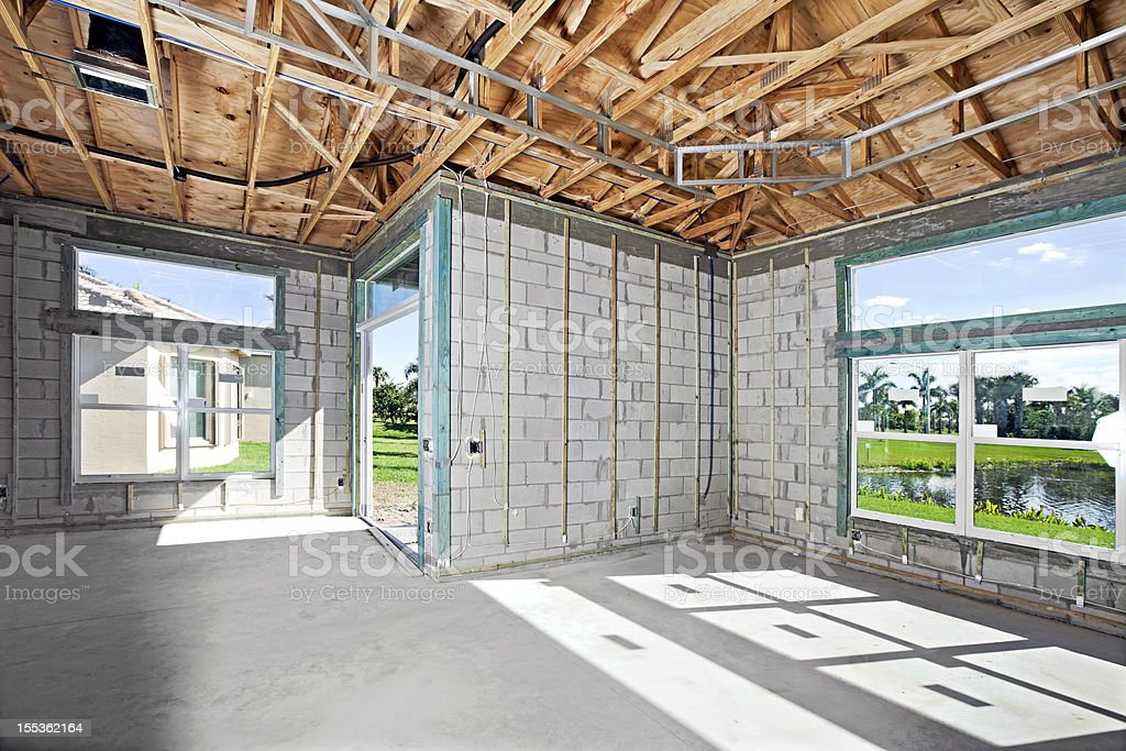 metal beam construction on a residential structure stock photo
