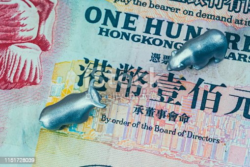 metal bear and bull on top of 100 hongkong bill