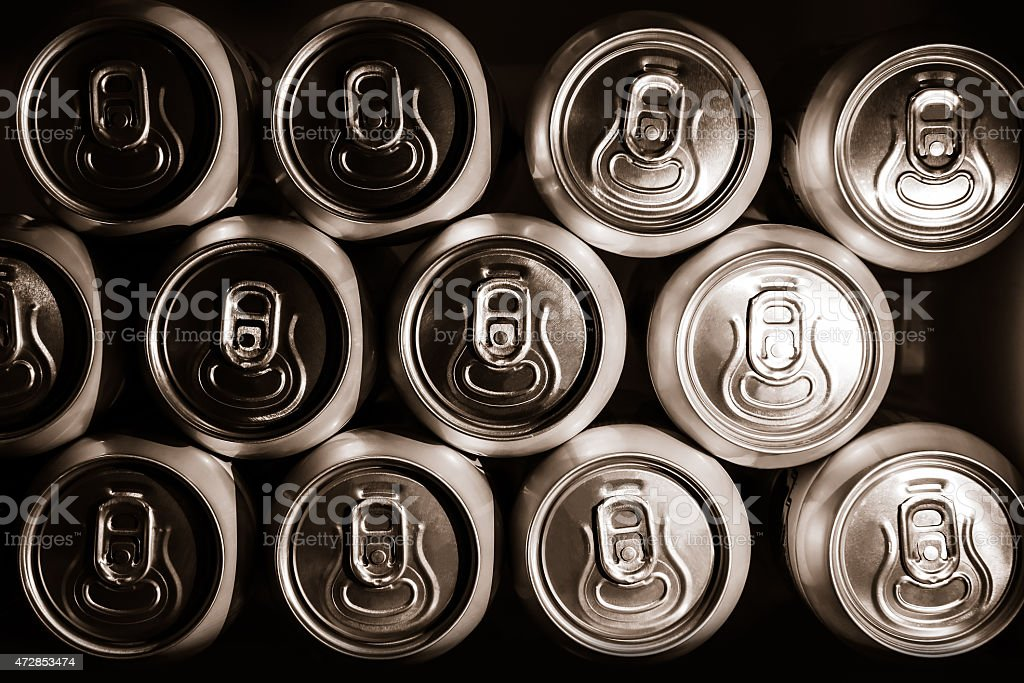 metal  beer cans background stock photo