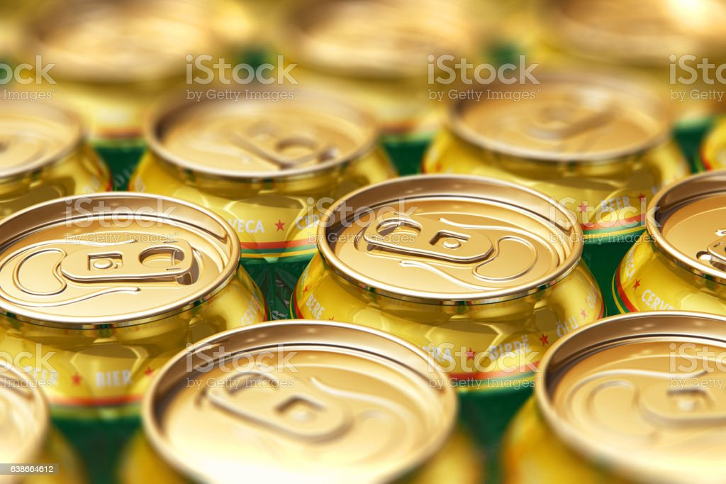 Metal beer drink cans stock photo