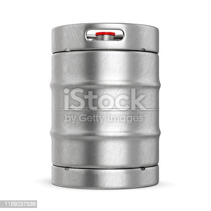 istock Metal beer keg isolated on white background 1159237339