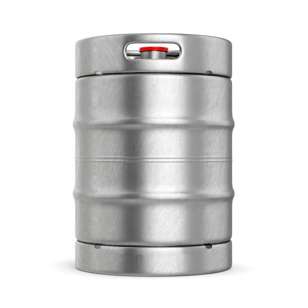 metall-bierfass isoliert auf weißem hintergrund - bierfass stock-fotos und bilder