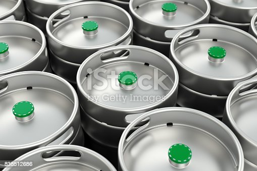 istock Metal beer kegs background 838512686