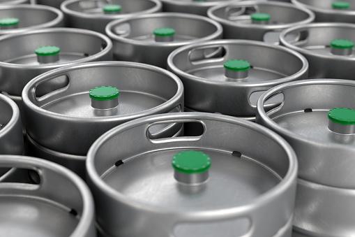 istock Metal beer kegs background 849025056