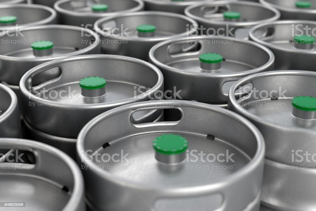 Metal beer kegs background stock photo