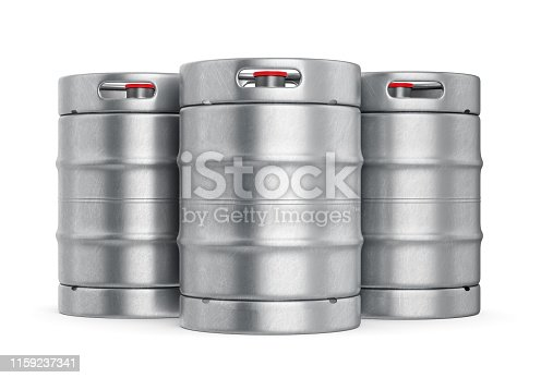 istock Metal beer kegs isolated on white background 1159237341